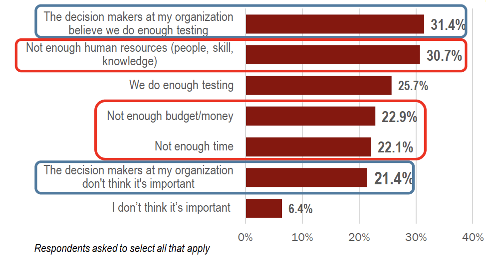 What does prevent your organization to test more?